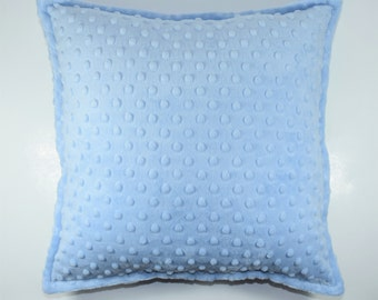 """Blue Minky Throw Pillow - Size: 16"""" x 16"""" (40x40 cm) - Hypoallergenic Fill - Ready to Ship"""