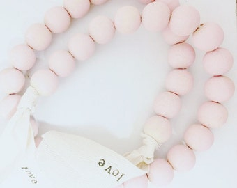 22 inch - Pink Wooden Bead with Tag