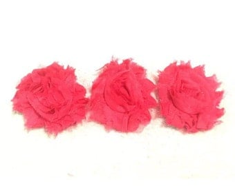 "Hot Pink Gorgeous Shabby Frayed Chiffon Flower Rosettes 3 x 2.5"", hair bands, clips, crafts etc"
