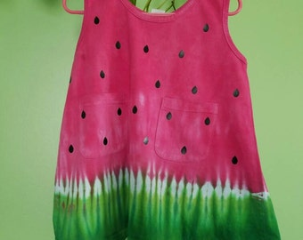 TieDyed Watermelon Toddler Dresses