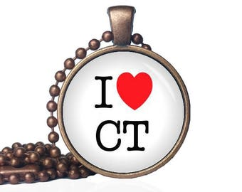 I Love Connecticut - I Heart CT - I Heart Connecticut - State Love - Connecticut Necklace - State Necklace - State Pride - I Love CT Gift