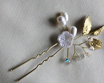 Swarovski pins freshwater pearls, pearl and crystal hair pins, gold hair pin, wedding hair pin, wedding hairpin, bridal hair pins