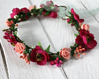 Wedding Flower crown Bridal floral crown Flower halo Flower headband Flower hair wreath Boho floral crown flower crown wedding