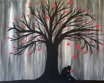 Love Reigns Down, Large Canvas, Glow in the Dark, Artwork, Acrylic Painting