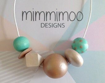 Mint Green Wood Beaded Necklace