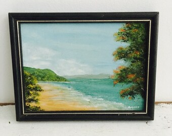 Vintage Australian painting small beautifully tropical