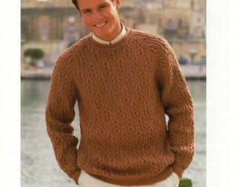 Knitting Pattern, Patons Means Cable Sweater, To fit 38-48 inches, aran pattern, cable pattern