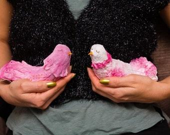 Spun cotton love birds couple ornaments