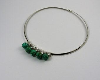 Teal gemstone silver collar necklace. Interchangeable necklace collar. Magnesite charm necklace.