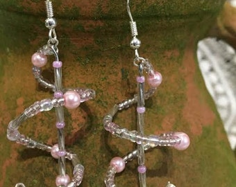 Pink Pearl Twist Earrings