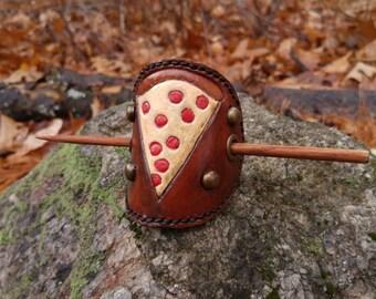 Leather Pepperoni Pizza Barrette