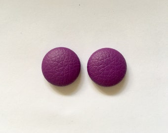 20mm Bright Purple Leatherette Studs • Faux Leather • Stud Earrings • Surgical Steel