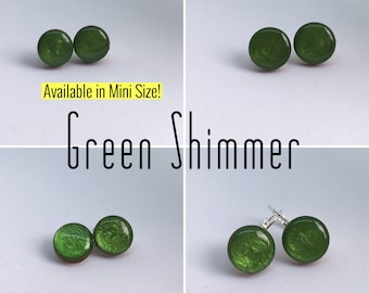 Green Shimmer Round Resin/Bamboo Earrings - various sizes and bails • studs • drop • dangles • clip ons • surgical steel • silver plated