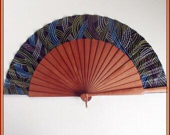 Ethnic designer hand painted fan, spanish hand fan, black hand fan, gift for wedding, , hand fans, folding hand fan, gift for her, unique.