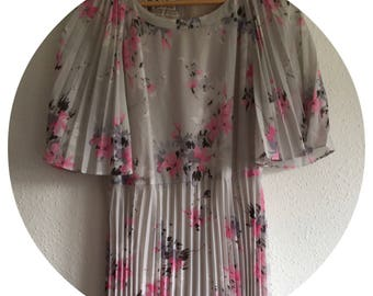 Vintage 70's 'Ralph' Grey & Pink Floral Pleated Dress Size 10