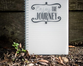 Enjoy the Journey Spiral Notebook/ Hardcover Notebook with Lined Pages