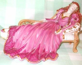 c. SALE - Sleeping Beauty by Franklin Mint, sleeping beauty fairytale figurine, by Gerda Neubacher dated 1989