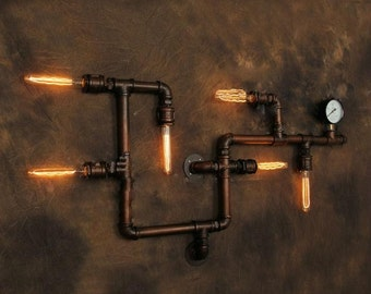 Industrial Pipe & Gauge Wall Lamp