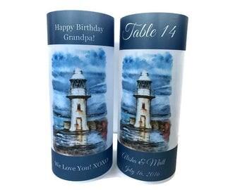 Table numbers,  Luminaries , birthday luminary, Wedding table centerpiece, wedding luminary, beach wedding, lighthouse candle, lighthouse