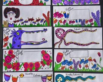 10 Decorated Envelopes/ Handmade/ Original Art
