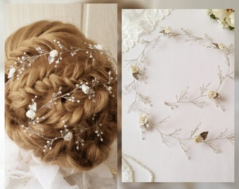 Free Shipping!!Flower Long hair vine, Crystals Bridal Wedding, Hairpiece Bridal Hair Vine,Wedding hair-vine,pearl hair vine 55