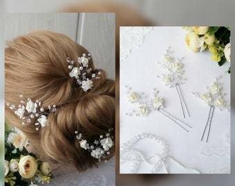 White flower Wedding hair pins,hair vine,pins, Bridal hair pins, hair pins, Bridal headpiece,Bridal hairpiece Wedding hair