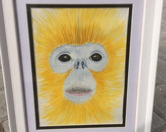 Golden Snub Nosed Monkey -Endangered Animal Fine Art Watercolour Painting by MS