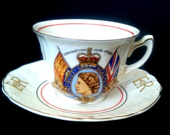 Myott 1953 Queen Elizabeth Coronation Teacup and Saucer, Embossed Tea Cup and Square Saucer, Royal Memorabilia Tea Cup