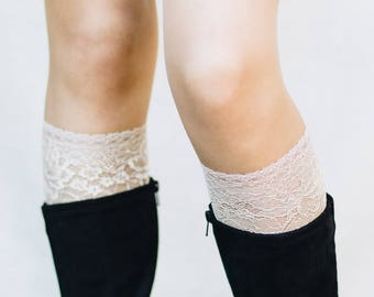 Lace Boot Cuffs / Boho Chic / Lace Boot Socks / Womens Boot Cuffs / Boot Toppers / Bridesmaid Gift / Leg Warmers // Beige Off White Oatmeal