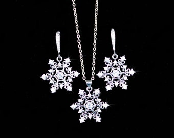 Cubic Zirconia CZ Snowflake Dangle Necklace and Earrings Set (Sparkle-2664)