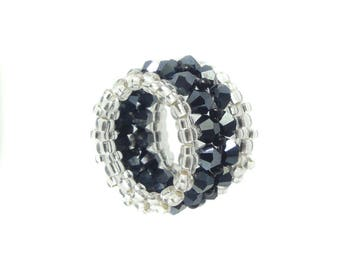 Memory ring - Crystal cut glass - Hematite / Black / Silver - approx. 15 mm wide (BS-1338)