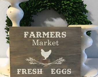 Farmers Market Sign - Rustic Sign - Country Sign - Weathered Sign - Wood Sign - Fresh Eggs Sign - Farmhouse Sign - Wall Decor