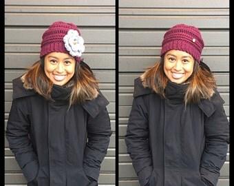Chunky crochet winter hat with flower, crochet hat with detachable flower, chunky crochet hat, winter hat, purple hat with flower