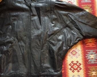 Vintage genuine leather batwing jacket