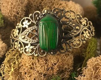 Real beetle antiqued bronze filigree cuff bracelet green beetle
