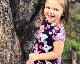 Girls Knit dress - Girls cap sleeve dress - Girls Play Dress - baby dress- toddler dress