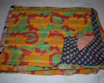 kantha quilt, vintage kantha quilt, indian quilt, kantha throw, coverlet, spring 127