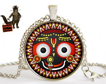 Lord Jagannath necklace pendant  jewelry, Subhadra, Balabhadra, Lord Krishna, Yoga om Puri India Hindu God SHIVA Hindu Hinduism
