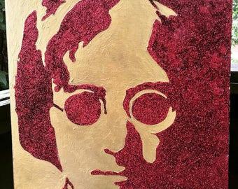 Wall Art - 20x16 Acrylic and Glitter Painting of John Lennon