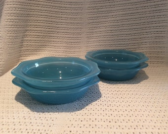 "Pyrex JAJ Blue Sprayware Dishses 1950's 6"" Diameter set of 4 bowls"