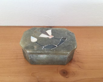Vintage Marble Trinket Box with Mother of Pearl Floral Inlay from 1970s