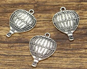 20pcs Hot Air Balloon Charm Travel Charms Antique Silver Tone 16x24mm CF2986