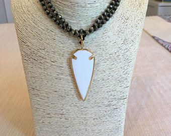 pyrite knotted necklace w/ arrowhead