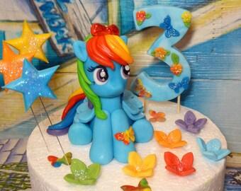 My Little Pony Rainbow Dash handmade cake topper