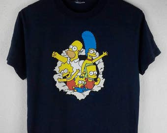 RARE!!! Bart Simpson Cartoon Big Logo Multicolour Crew Neck Dark Blue Colour T-Shirts S Size