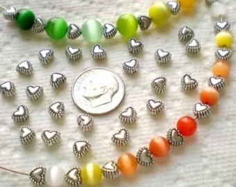 80 Tibetan Silver Hearts beads