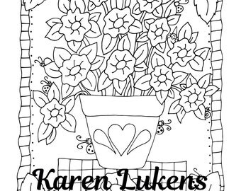 Happy Heart Pot, 1 Adult Coloring Book Page, Instant Download