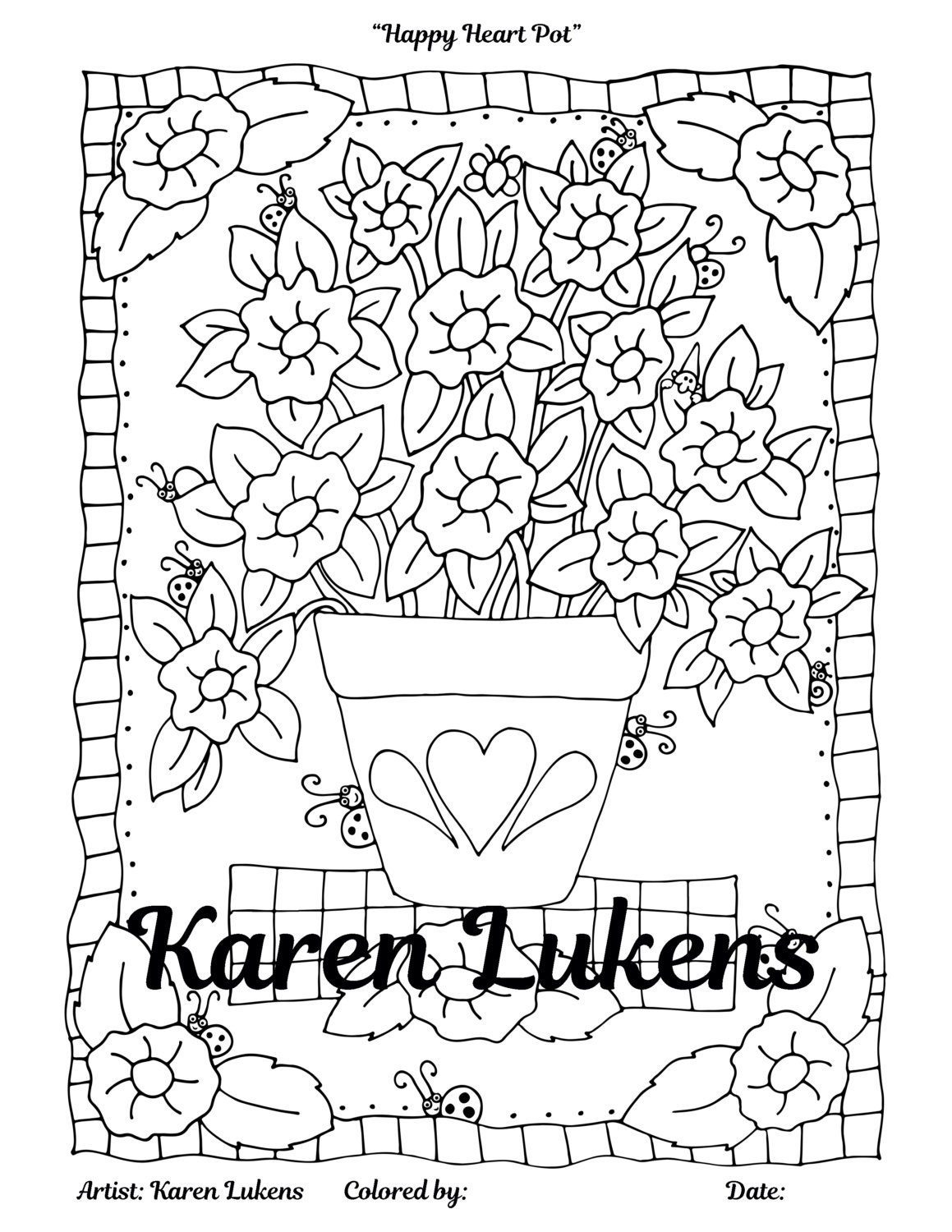 Happy Heart Pot 1 Adult Coloring Book Page Instant Download