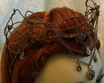 "Elven Crown- Headpieces-Tiara- Woodland Elf-Woodland Headpiece-"" Zena"""