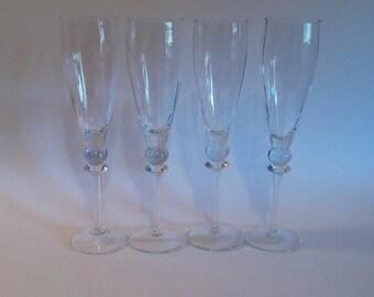 Ribbed Champagne Flutes    Vintage Crystal Toasting Flutes